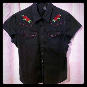 Black button up Blouse w/embroidered roses